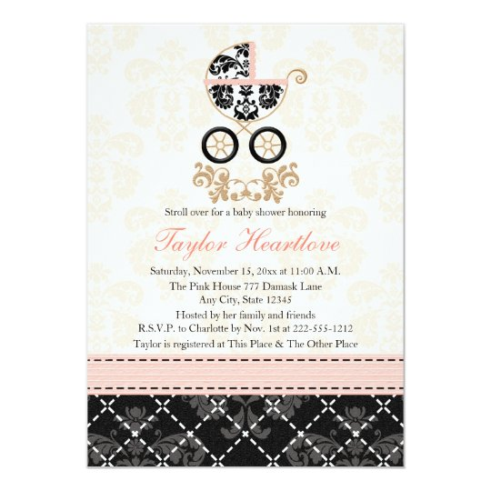 Fancy pink and black damask carriage baby shower invitation zazzle fancy pink and black damask carriage baby shower invitation filmwisefo