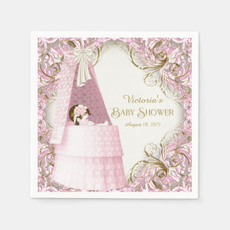 Fancy Pink and Gold Baby Shower Napkin