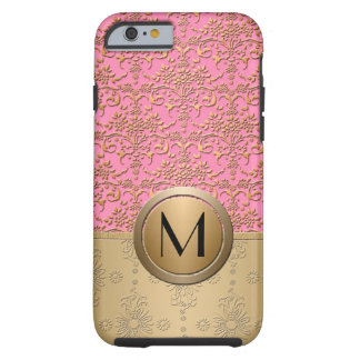 Fancy Pink and Gold Monogram Damask Pattern iPhone 6 Case
