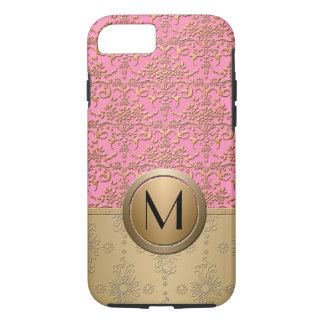 Fancy Pink and Gold Monogram Damask Pattern iPhone 8/7 Case