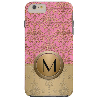 Fancy Pink and Gold Monogram Damask Pattern Tough iPhone 6 Plus Case
