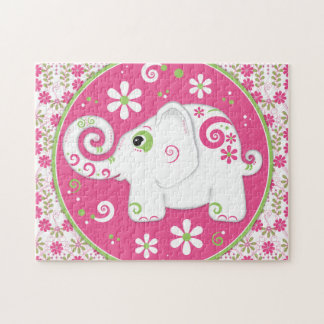Fancy Pink and Green Elephant and Floral Puzzle