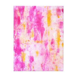 'Fancy' Pink and Orange Abstract Art Canvas Print