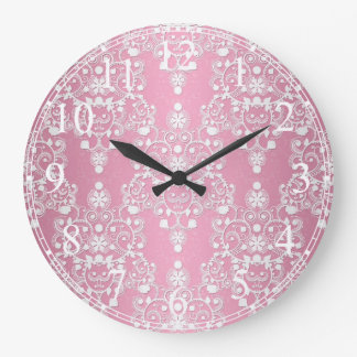 Fancy Pink and White Lace Style Damask Large Clock