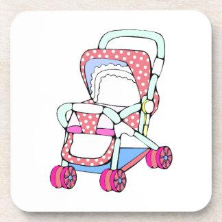 Fancy pink baby stroller graphic beverage coaster