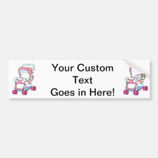 Fancy pink baby stroller graphic bumper stickers