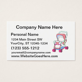 Fancy pink baby stroller graphic business card