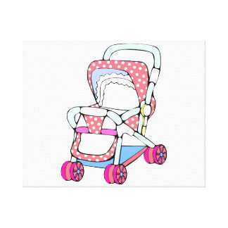 Fancy pink baby stroller graphic canvas print
