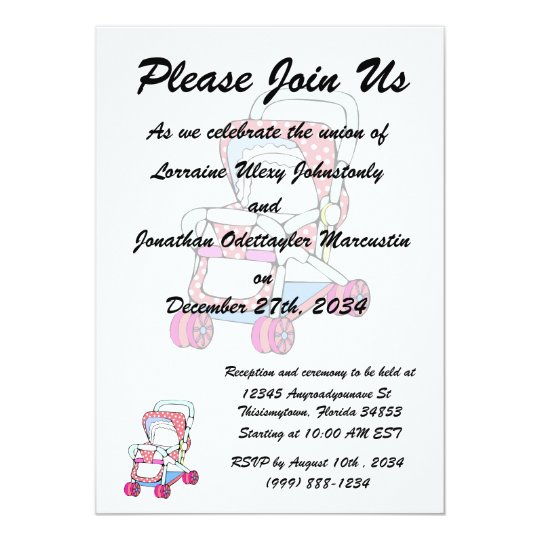 Fancy pink baby stroller graphic card