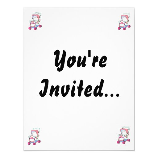 Fancy pink baby stroller graphic custom invitations