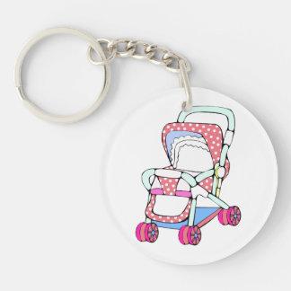 Fancy pink baby stroller graphic keychain