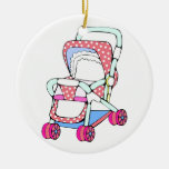 Fancy pink baby stroller graphic christmas ornament