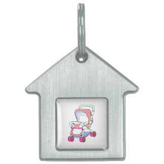 Fancy pink baby stroller graphic pet tags