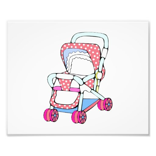 Fancy pink baby stroller graphic photographic print
