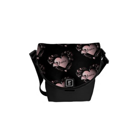 Fancy Pink&Black 3D Hearts W/Name Messenger Bag