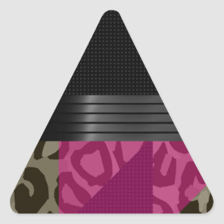 Fancy Pink Black Cheetah Triangle Sticker