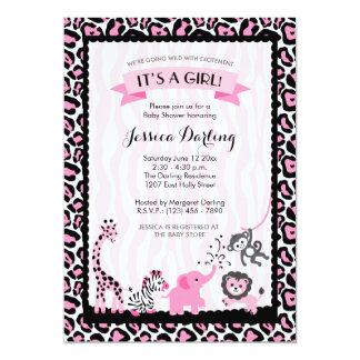 Fancy Pink & Black Safari Girl Baby Shower Card