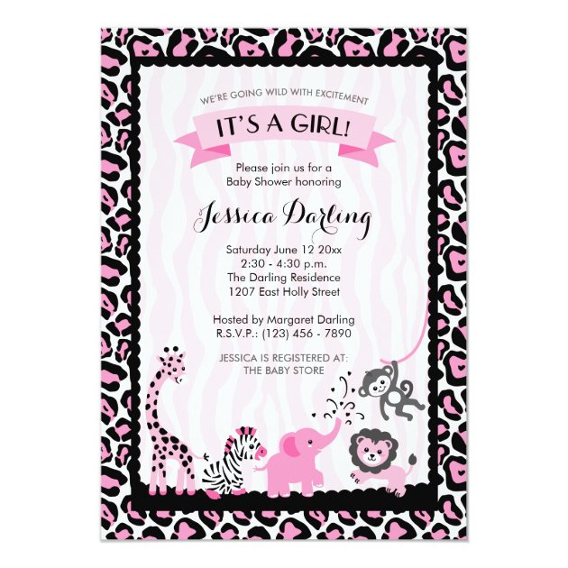 87 brilliant safari themed baby shower invitations fancy pink black safari girl baby shower invitation filmwisefo Image collections
