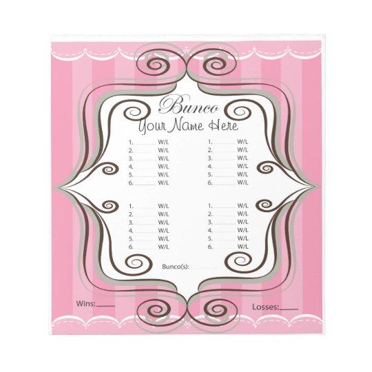 Fancy Pink Bunco Sheet Notepad