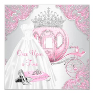 Fancy Pink Cinderella Princess Birthday Party Invitation