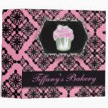 Fancy Pink Damask Cupcake  Bakers Binder
