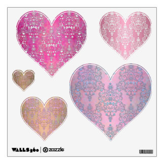 Fancy Pink Damask Hearts Set of Wall Decals