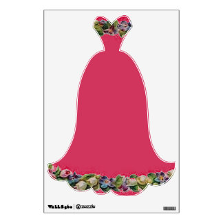 Fancy Pink Floral Evening Gown Wall Decal