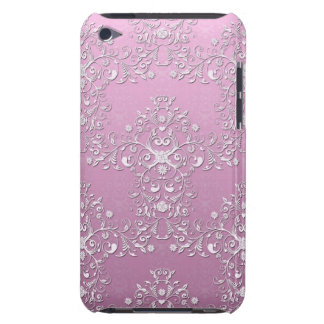 Fancy Pink Intricate Floral Damask iPod Touch Case
