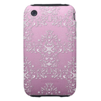 Fancy Pink Intricate Floral Damask Tough iPhone 3 Case