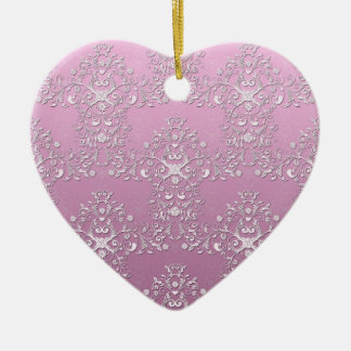 Fancy Pink Intricate Floral Damask Ceramic Ornament