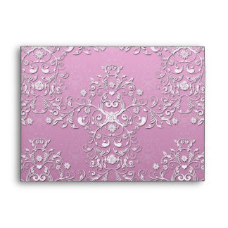 Fancy Pink Intricate Floral Damask Envelope