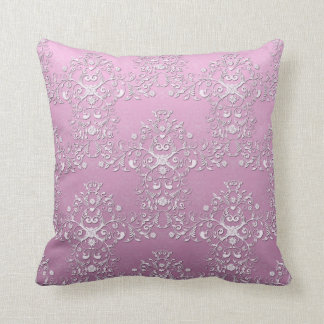 Fancy Pink Intricate Floral Damask Throw Pillows