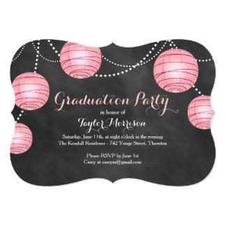 Fancy Pink Lantern Graduation Invitation