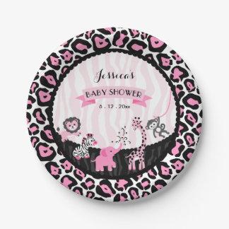 Fancy Pink Safari Girl Baby Shower Custom Plates