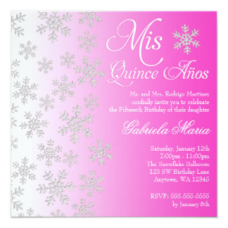 Fancy Pink Snowflake Winter Wonderland Quinceanera 5.25x5.25 Square Paper Invitation Card