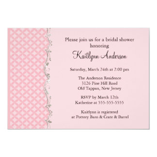 Fancy Pink Trim Bridal Shower Invitation