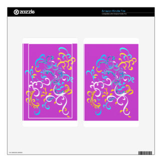 Fancy Pink Turquoise Yellow Colorful Swirls Kindle Fire Skin