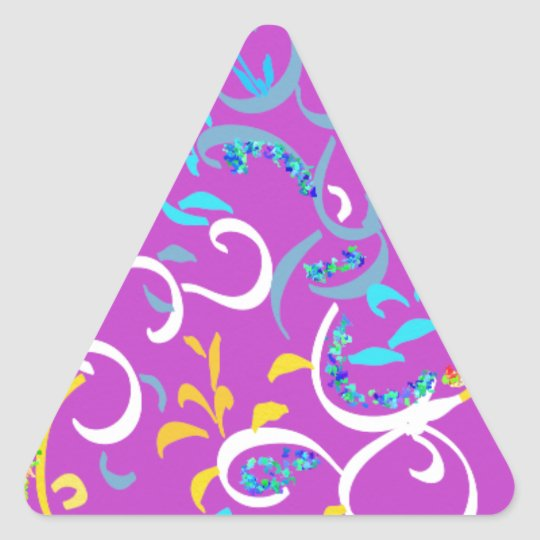 Fancy Pink, Turquoise, Yellow Colorful Swirls Triangle Sticker