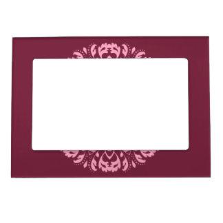 Fancy pink victorian motif on burgundy magnetic photo frames