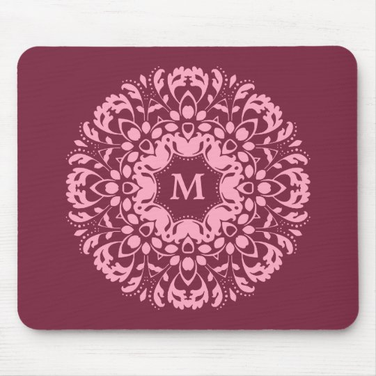 Fancy pink victorian motif on burgundy monogram mouse pad