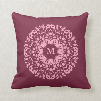 Pink Victorian Pillows : Fancy pink victorian motif on burgundy monogram throw pillows
