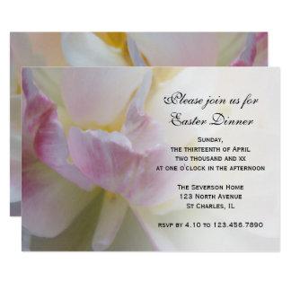 Fancy Pink White Tulip Easter Dinner Invitation