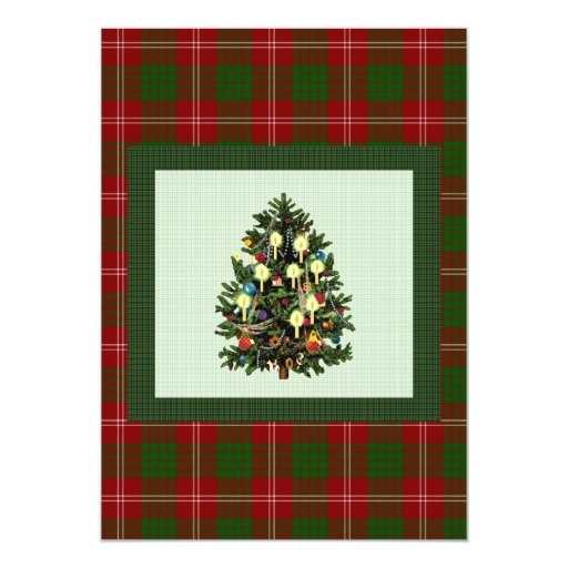 Fancy Plaid Christmas Party Card