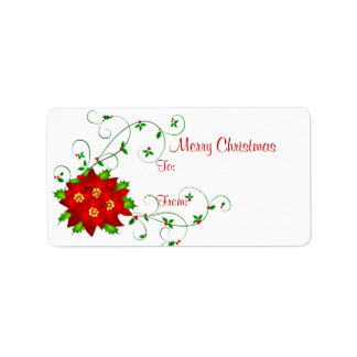 Fancy Pointsettia - Holiday Gift Tag Labels