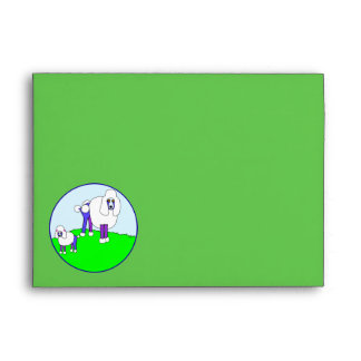 Fancy Poodles In The Park Green Envelope