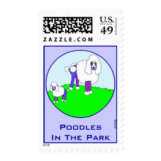 Fancy Poodles In The Park Postage Stamps