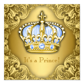Fancy Prince Baby Shower Baby Blue Gold Card