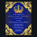 """Fancy Prince Baby Shower Blue and Gold Card<br><div class=""""desc"""">Beautiful royal blue and gold with blue and gold crown fancy royal baby shower invitation. This exquisite royal blue and gold prince baby shower invitation is easily customized for your event by simply adding your details in the font style and color,  wording and layout of your choice.</div>"""
