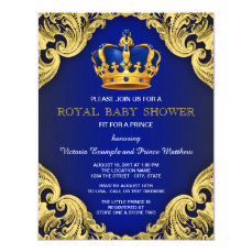Fancy Prince Baby Shower Blue and Gold Card