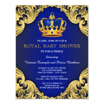 BabyCentral Fancy Prince Baby Shower Blue and Gold Card
